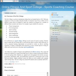 Online Fitness And Sport College - Sports Coaching Course: An Overview of the Eta College
