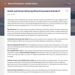 Health and Fitness Advice by Mario Prisciandaro Orlando Fl