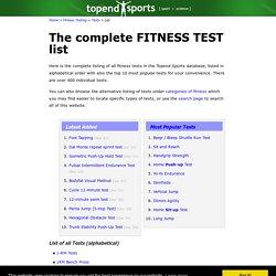 Fitness Test List