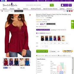 Women's Fitted Casual V Neck Cold the Shoulder Long Sleeve Tied Front Shirt Top