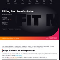 Fitting Text to a Container