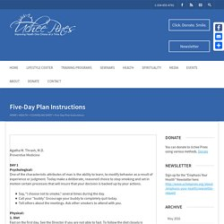 Five-Day Plan Instructions - Uchee Pines