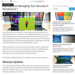 Five Tips For Managing Your Security In Windows 8.1