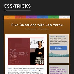 Five Questions with Lea Verou