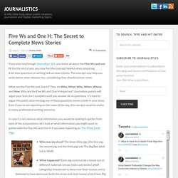 Five Ws and One H: The Secret to Complete News Stories