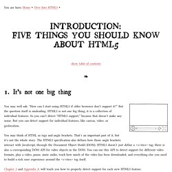 Five Things You Should Know About HTML5