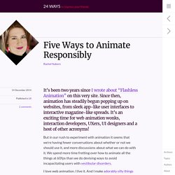 Five Ways to Animate Responsibly