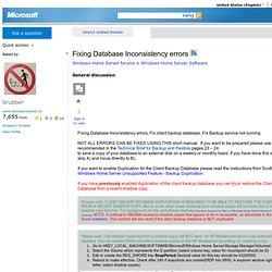 Fixing Database Inconsistency errors