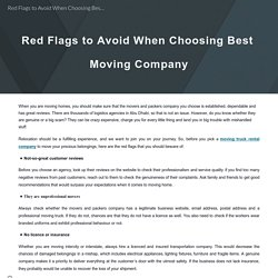 Red Flags to Avoid When Choosing Best Moving Company
