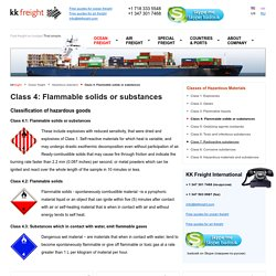 Class 4: Flammable solids or substances