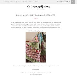 DIY: Flannel Baby Rag Quilt REPOSTED