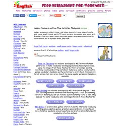 Hobbies flashcards, leisure activities flashcards, bingo cards, game cards and other printables