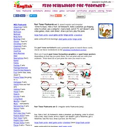 Past tense flashcards, regular past tense, and irregular past tense flashcards, worksheets, and explanation guides to download and print