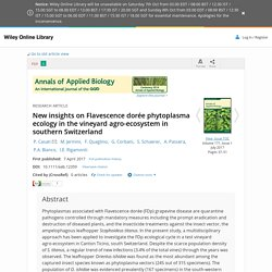 ANNALS OF APPLIED BIOLOGY 07/04/17 New insights on Flavescence dorée phytoplasma ecology in the vineyard agro-ecosystem in southern Switzerland