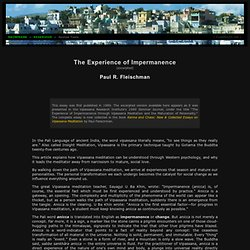 Paul R. Fleischman: The Experience of Impermanence