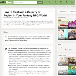 How to Flesh out a Country or Region in Your Fantasy RPG World