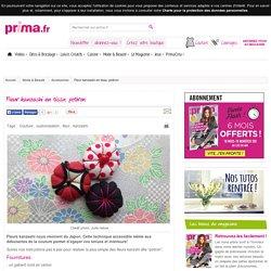 Fleur kanzashi en tissu: potiron