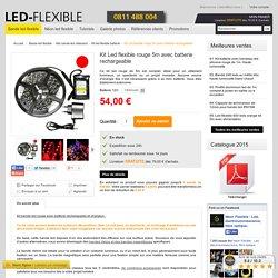 Kit Led flexible rouge 5m avec batterie rechargeable