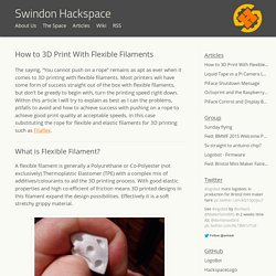 How to 3D Print with Flexible Filaments - Swindon Hackspace