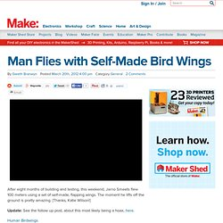 Man Flies with Self-Made Bird Wings