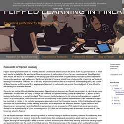 FLIPPED LEARNING IN FINLAND: Research for flipped learning