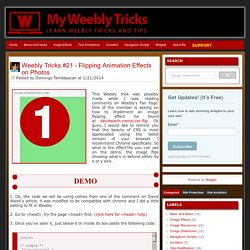 My Weebly Tricks: Weebly Tricks #21 - Flipping Animation Effects on Photos