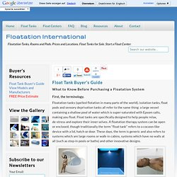Float Tank Buyer's Guide | Floatation International