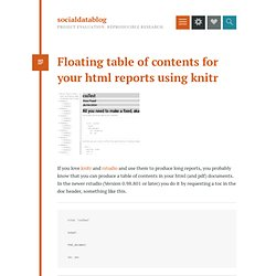 Floating table of contents for your html reports using knitr