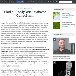 Find a Floodplain Business Consultant