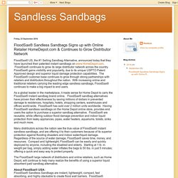 Sandless Sandbags : FloodSax® Sandless Sandbags Signs up with Online Retailer HomeDepot.com & Continues to Grow Distributor Network