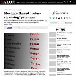 "Florida's flawed ""voter-cleansing"" program"