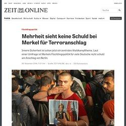 Flüchtlingspolitik: Mehrheit sieht keine Schuld bei Merkel für Terroranschlag