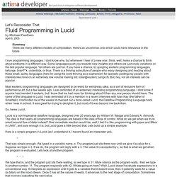 Fluid Programming in Lucid