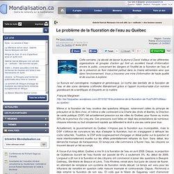 Le problème de la fluoration de l'eau au Québec
