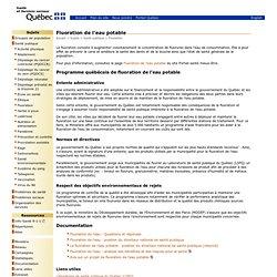 SANTE ET SERVICES SOCIAUX QUEBEC – 2011 – Fluoration