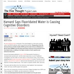 Harvard Says Fluoridated Water is Causing Cognitive Disorders
