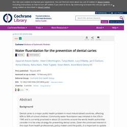 Water fluoridation for the prevention of dental caries - Iheozor-Ejiofor - 2015 - Cochrane Database of Systematic Reviews