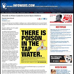 Fluoride in Water Linked to Lower IQ in Children