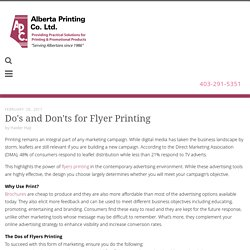 Do's and Don'ts For Flyer Printing - Alberta Printing Calgary