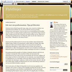 Lite mer om posthumanism. Tips på litteratur