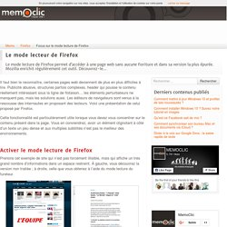 Focus sur le mode lecture de Firefox