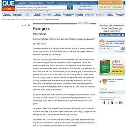 QUE CHOISIR 26/11/08 Foie gras - Décryptage - Comment choisir un foie cru et que valent les foies gras sans gavage ?