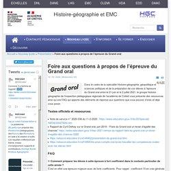 HGCréteil - Foire aux questions à propos de l'épreuve du Grand oral
