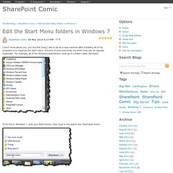 Edit the Start Menu folders in Windows 7 - SharePoint Comic