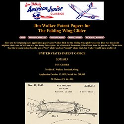 Folding Wing Glider Patent Papers by Jim Walker
