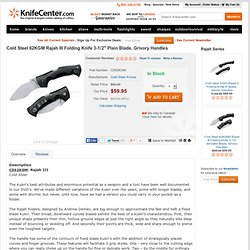 Cold Steel Rajah III Folding Kukri Knife 3-1/2 Plain Blade, Grivory Handles - Knifecenter.com