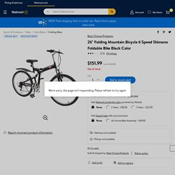 "26"" Folding Mountain Bicycle 6 Speed Shimano Foldable Bike Black Color - Walmart.com"