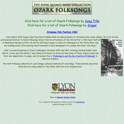 Wolf Folklore Collection: Ozark Folksongs