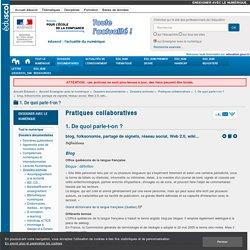 blog, folksonomie, partage de signets, réseau social, Web 2.0, wiki...