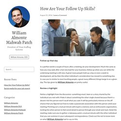 How Are Your Follow Up Skills? – William Almonte Mahwah Patch